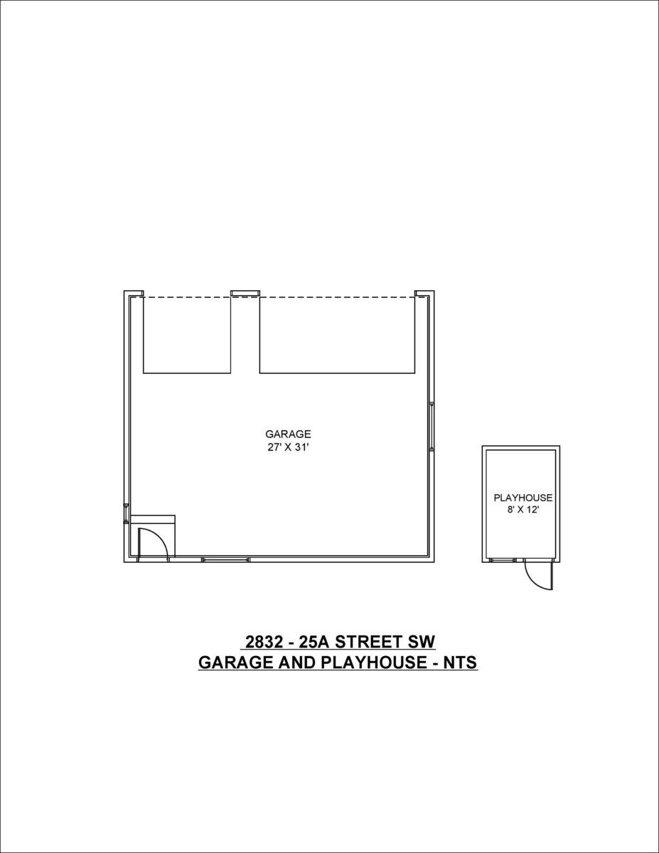 Garage and Playhouse Floor Plan 2832 - 25A SW Calgary