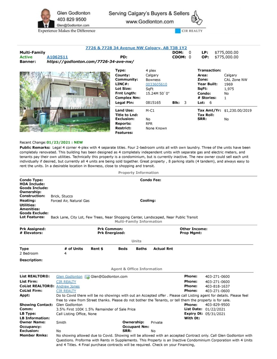 MLS Active A1062511 7726 & 7728 34 Ave
